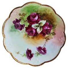 "Striking Vintage Limoges France Hand Painted ""Deep Red Roses"" Floral Charger by Artist, ""M. Antique China Dishes, Hand Painted Plates, Decorative Plates, Red And Pink Roses, China Painting, Chocolate Pots, Painted Porcelain, Serving Platters, Ruby Lane"