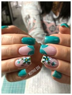 31 best nails ideas for spring 2019 00023 Burgundy Acrylic Nails, Cute Acrylic Nails, Acrylic Nail Designs, Cute Nails, Pretty Nails, Nail Art Designs, Flower Nail Designs, Flower Nail Art, Hair And Nails