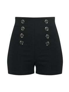 """Women's """"High Waisted"""" Pin Me Up Shorts by Double Trouble Apparel (Black) #InkedShop"""