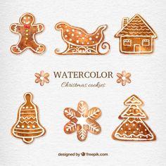 Free vector Watercolor christmas cookies #33396
