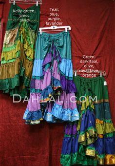 RAISED HEM GRADIENT SARI SKIRT with Draw String Waist, for Belly Dance - Dahlal Internationale Store