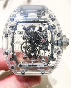 The skeletonized Richard Mille RM Tourbillon Sapphire. Limited to only 5 pieces worldwide this masterpiece will set you back around USD if you can even get your hands on one. Bulova Watches, Fossil Watches, Cool Watches, Richard Mille, Mens Designer Watches, Luxury Watches For Men, Rolex, Tourbillon Watch, Men Accessories