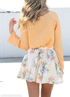 floral fashion fashion floral orange skirt #style #fashion For more tips + ideas, visit www.makeupbymisscee.com