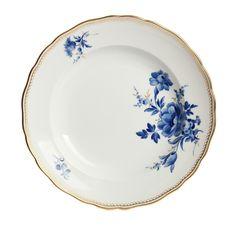 """Plate, Shape """"Neuer Ausschnitt"""", Bouquet,6 flowers,off centre,cobalt blue,golden grass,gold border/rim, ø 26 cm"""