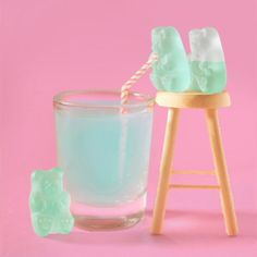 Mint Green Gummy Bears Going For a Dive