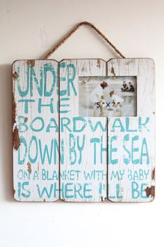 Wood Beach Sign Beach Sign Decor Blue and White by honeywoodhome, $34.95