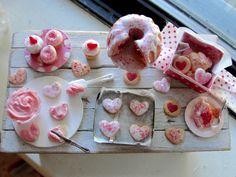 Dollhouse miniature Valentine baking by Kimsminibakery on Etsy