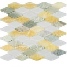 "Shop 12 1/2"" x 12 1/4"" Iota Mossy Aura Polished + Frosted Stone + Glass Tile in Honey Onyx, Ming Green + White at TileBar.com."