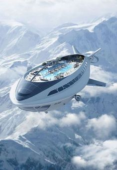 Modern Zeppelin, bigger, better, economical with solar-electric, faster with day & night rooms, cafe, skydeck, seats 1000 people in luxury.