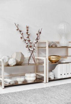 Orden, belleza y equilibrio en una estantería y flores de algodón