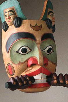 Haida, British Columbia, Canada.  Beaver Mask  The Haida held a set of beliefs about the way the human world interacted with the natural and supernatural worlds. Shared concepts incl: curing the sick, ensuring supply of fish/game, influencing weather. Among the Haida the masks were used mostly by members of secret societies in dances to represent wild spirits or animals.