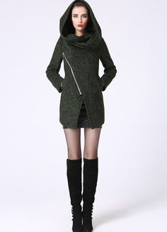 Modern Mini Wool Coat with Asymmetrical Front Zipper by xiaolizi