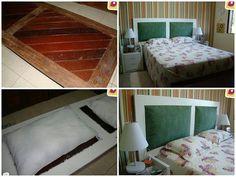 Cabeceira de cama feita com porta e almofadas