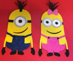 GLITTER Minion Die Cuts for Invitations, centerpieces, banners, tags etc on Etsy, $6.00