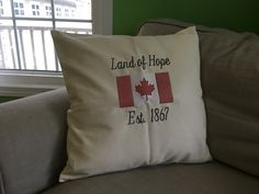 Embroidered pillow Personalized Pillows, Personalized Products, Perfect Pillow, House Warming, Great Gifts, Pillow Ideas, Throw Pillows, Canada, Design