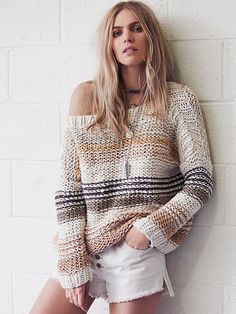 Free People Awash in Stripes Pullover at Free People Clothing Boutique Knooking, Summer Sweaters, Summer Knitting, How To Roll Sleeves, Crochet Fashion, Knitting Designs, Crochet Clothes, Pulls, Look Fashion