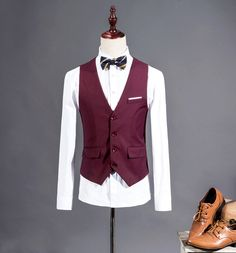 wholesale Men Suit Vest Purple Red Wedding Groomsmen Tuxedo Waistcoat Male Solid Dress Slim Fit For Man Formal Blazer Vest Man gilet Waistcoat Men, Mens Suit Vest, Blazer Vest, Formal Vest, Men Formal, Groomsmen Tuxedos, Fitness Fashion, Suits, Clothes