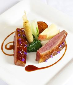 duck recipes - Roast duck crown with turnip, peach, duck croustillant and red wine jus Duck Recipes, Gourmet Recipes, Cooking Recipes, Gourmet Desserts, Plated Desserts, Great British Chefs, Roast Duck, Food Presentation, Food Plating