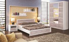 Sypialnia OLIVIA, krem / dąb ancona  Bryły kolekcji Olivia posiadają proste formy, są funkcjonalne i pojemne. Decydując się na meble z tej kolekcji Klienci zyskują w pełni funkcjonalną sypialnię lub pokój dzienny o niepowtarzalnym wyglądzie.