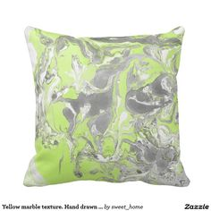 Yellow marble texture. Hand drawn artwork Throw Pillow #Homedecor #Room #accessories #Interior #decorating #Idea #Styles #Home #stonetexture #paint #abstract