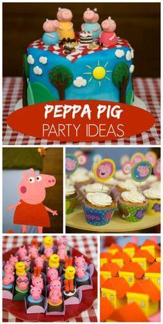 Decoração festa Peppa Pig, bolos e guloseimas