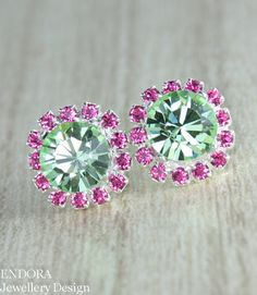 Mint and pink crystal earrings,  Mint and Pink wedding jewelry #EndoraJewellery