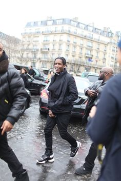 ASAP Rocky wears Rick Owens for Adidas Running Sneakers during Paris Fashion Week | UpscaleHype