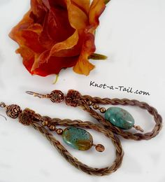Larger loop Horsehair earrings genuine Turquoise Hand-braided loop sorrel horsehair earrings Genuine Real Turquoise nugget earrings dangles by Knotatail on Etsy