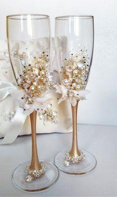 boda personalizada flautas vasos de boda por WeddingArtGallery