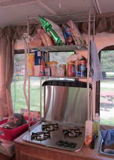 Pop Up Camper Mods: Tension Rod Wire Shelving   Wire