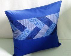 Funda de almohada de 18 x 18 azul, azul real Patchwork decorar la funda de almohada, funda de almohada de acento, reciclado reciclar reutilizar la funda de almohada de tela