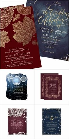 Burgundy and navy wedding invitations in a variety of themes | view the full collection on Zazzle