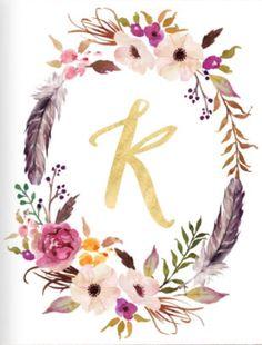 Letter K - Watercolor Monogram - Flower Lettering - Waterco Watercolor Lettering, Watercolor Print, K Wallpaper, Wallpaper Backgrounds, Floral Letters, Name Art, Letter Art, Cool Fonts, Cute Wallpapers