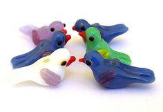 6 bird beads, lampwork glass, blue, green, white, lavender via Etsy