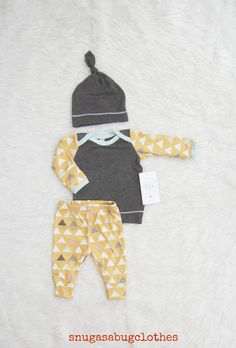 Mustard Arrow Baby Boy Coming Home Outfit by SnugAsaBugClothes