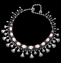 Cleopatra Choker set, in white gold with diamonds, rubies, sapphires and pearls, by Mirari, New Delhi.