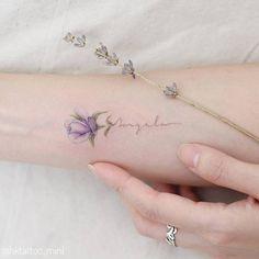 30 Subtle and Delicate Pastel Tattoos by Mini Lau - TattooBloq Delicate Purple Rose Tattoo Violet Flower Tattoos, Violet Tattoo, Purple Tattoos, Tiny Flower Tattoos, Dainty Tattoos, Delicate Tattoo, Small Tattoos, Floral Tattoos, Mini Tattoos
