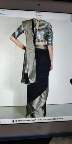 Black Saree Blouse, Saree Dress, Saree Blouse Patterns, Saree Blouse Designs, Indian Fashion, Women's Fashion, Fashion Outfits, Modern Saree, Saree Styles