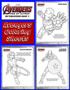 Avengers Coloring Sheets - MARVEL fun with Thor, Captain America, Black Widow, the Hulk and all your Avengers friends!