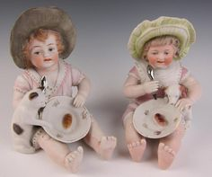 Antique Pair German Bisque Piano Baby Boy Girl Cat Dog Porcelain Figurine Doll | eBay