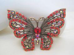 Vintage Orange  Rhinestone Butterfly Brooch by VintagObsessions, $20.00