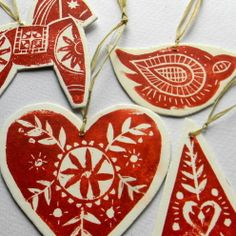 Lino Print Tree Decorations - eclectic - holiday decorations - Folksy