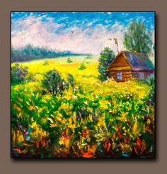 Buy painting Cozy rustic evening - original painting for sale by Rybakow Bright Paintings, Buy Paintings, Landscape Paintings, Oil Painting Flowers, Artist Painting, Original Paintings For Sale, Art Articles, Painting Wallpaper, Simple Art