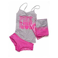 Tank & panty set ($20) ❤ liked on Polyvore featuring intimates, sleepwear, pajamas, underwear, pijamas, ropa interior, set, victoria secret pajamas, holiday pajamas and holiday pjs