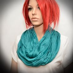 Turquoise Silk scarf  Infinity scarf by Pixiesdance on Etsy, $19.00