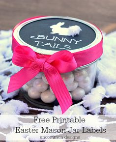 Easter treats for kids with Free Printable Mason Jar Labels. Such a fun and easy way to celebrate!