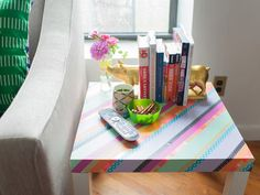 Washi tape a table top, clipboards, storage boxes, etc to make coordinating decor instantly. 10 Ways to Transform Your Space With Washi Tape : Rooms : HGTV Deco Tape, Hacks Ikea, Washi Tape Crafts, Washi Tapes, Japanese Paper, Masking Tape, Dorm Decorations, Dorm Room, Your Space