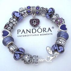 Authentic PANDORA Sterling Silver Bracelet w/Euro Charms Purple Angel Heart Love #PandoraBracelet #European