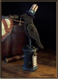 Liberty Crow- PrimiTive OriginaL Americana Flag Punch Needle Make-do OOAK