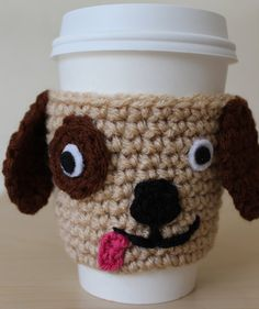 Puppy Crochet Coffee Cozy Doggie Coffee Sleeve by MsAmandaJayne
